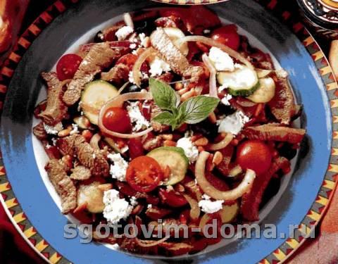 Баранина по-гречески с кабачками и сыром