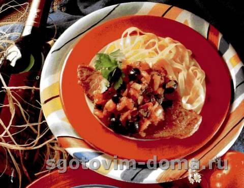 Бифштекс из телятины с соусом из помидоров, маслин и анчоусов
