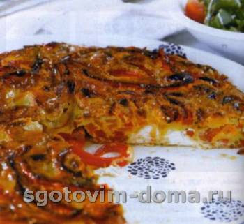 Фриттата из разноцветного перца, сыра фета и орегано