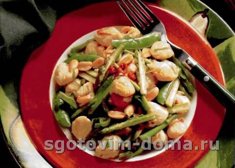 Мидии с овощами по-азиатски