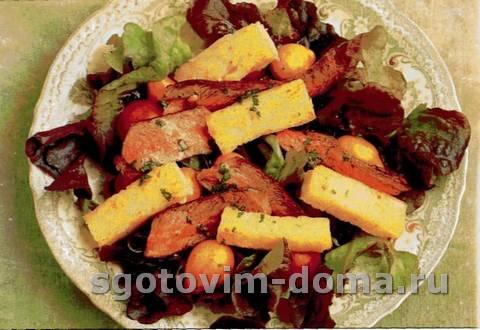 Мясной салат с мясом ягненка и мятой