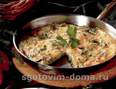 Пирог с луком-пореем, кабачками-цукини и сыром