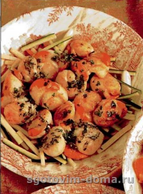 Салат из морских гребешков с лимоном и имбирем