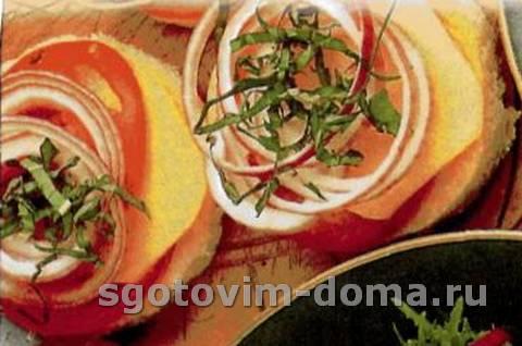 Тосты с помидорами и сыром моццарелла