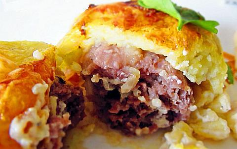 Галушки картофельные с мясным фаршем