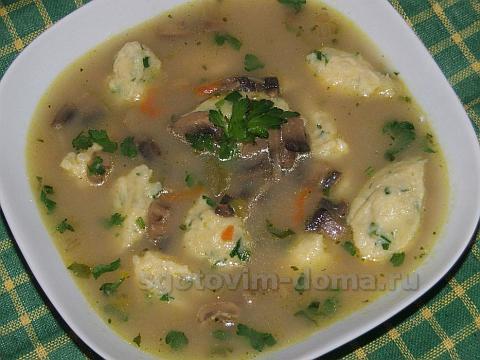 Суп грибной с ушками