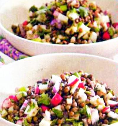 Острый салат из чечевицы